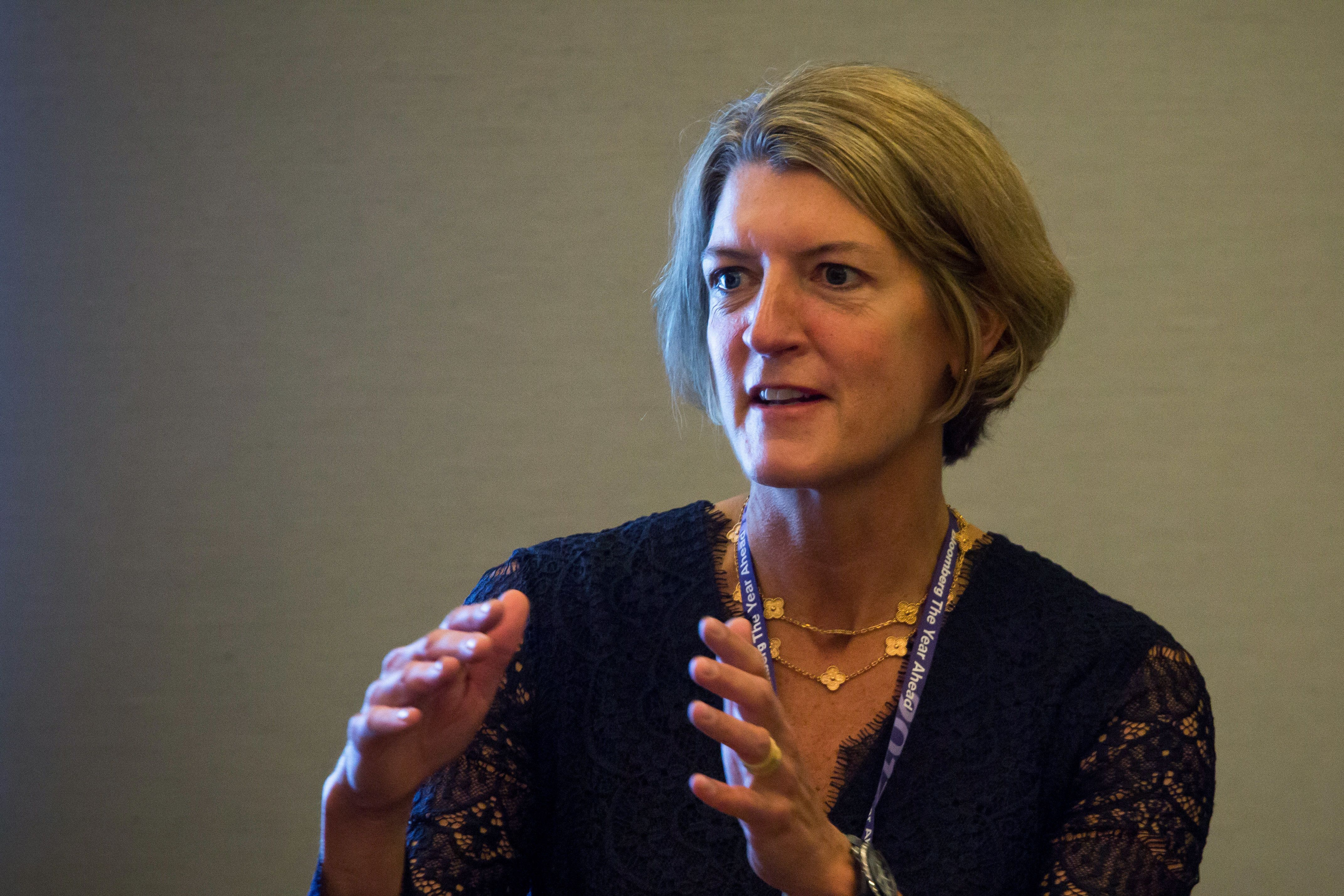 Beth Ford, group executive vice president and chief operating officer at Land O'Lakes Inc., speaks during Bloomberg's fourth-annual Year Ahead Summit in New York, U.S., on Tuesday, Oct. 25, 2016. The summit addresses the most urgent topics for 2017 and beyondhow power shifts in global politics will affect free trade and financial markets; industry-moving innovations in AI, robotics, and life sciences; the biggest investment opportunities for 2017; and how organizations are working to increase diversity, solve the skills gap, and decrease the wage gap. Photographer: Michael Nagle/Bloomberg via Getty Images