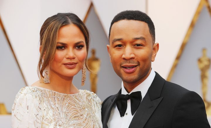 Chrissy Teigen and John Legend at the Academy Awards in 2017.
