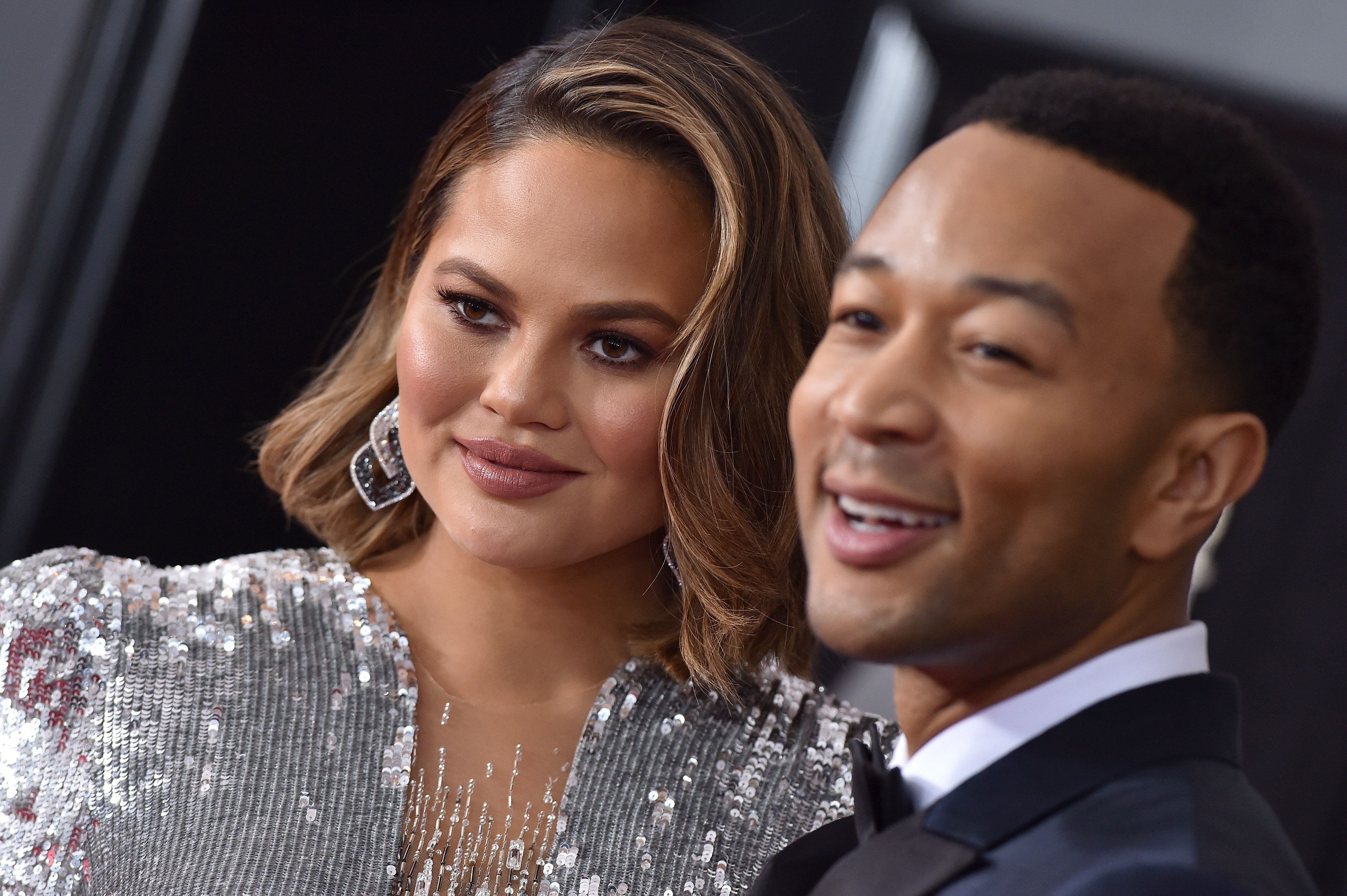 NEW YORK, NY - JANUARY 28:  Model Chrissy Teigen and recording artist John Legend attend the 60th Annual GRAMMY Awards at Madison Square Garden on January 28, 2018 in New York City.  (Photo by Axelle/Bauer-Griffin/FilmMagic)