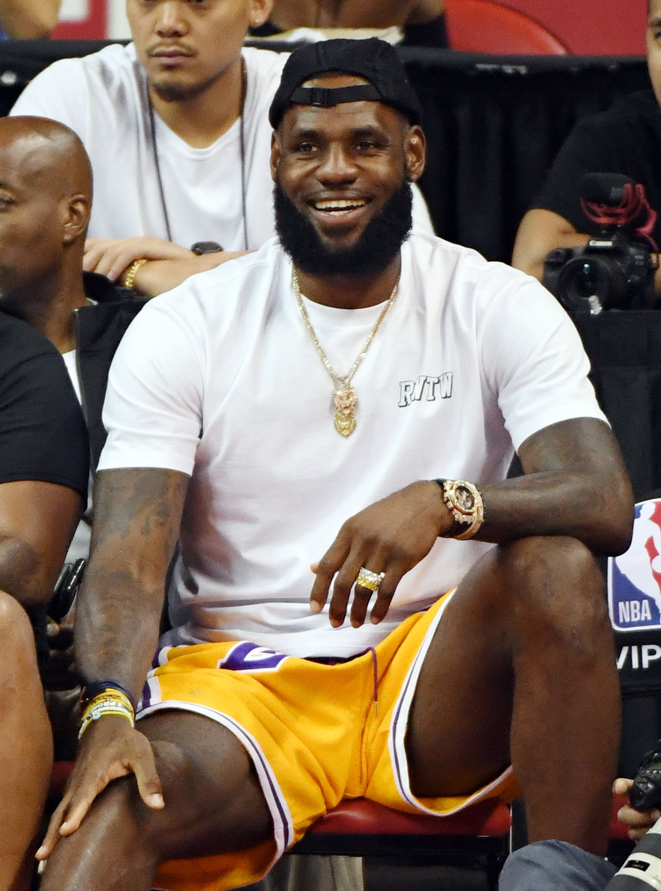 LAS VEGAS, NV - JULY 15:  LeBron James of the Los Angeles Lakers attends a quarterfinal game of the 2018 NBA Summer League between the Lakers and the Detroit Pistons at the Thomas & Mack Center on July 15, 2018 in Las Vegas, Nevada. NOTE TO USER: User expressly acknowledges and agrees that, by downloading and or using this photograph, User is consenting to the terms and conditions of the Getty Images License Agreement.  (Photo by Ethan Miller/Getty Images)