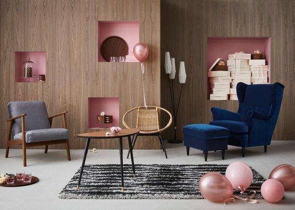 GAGNET armchair, $79.99<br>STRANDMON wing chair, $279<br>STRANDMON ottoman with storage, $99<br>LÖVBACKEN side table, $5