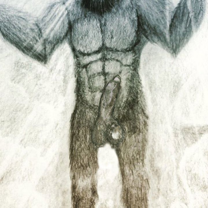 Bigfoot's erect penis.