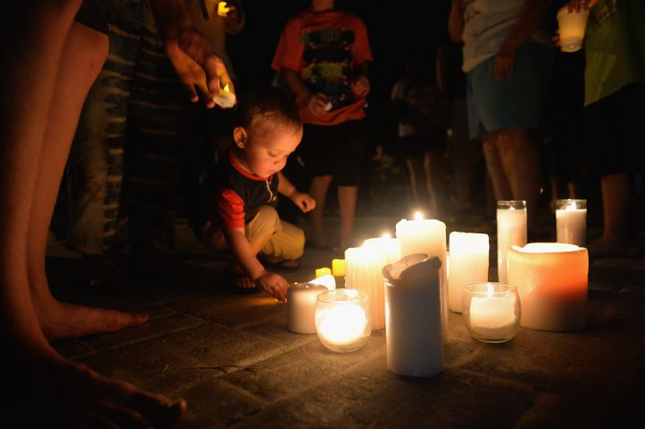 An evening candlelight prayer vigil in Branson, Missouri, after 17 people died aboard a duck boat on July 19.