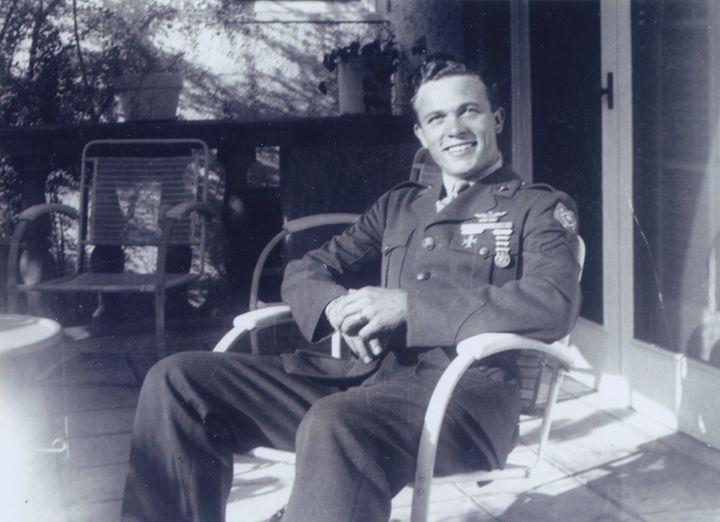 Bowers, a former Marine, in uniform.