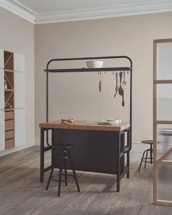 VADHOLMA kitchen island with rack, $548