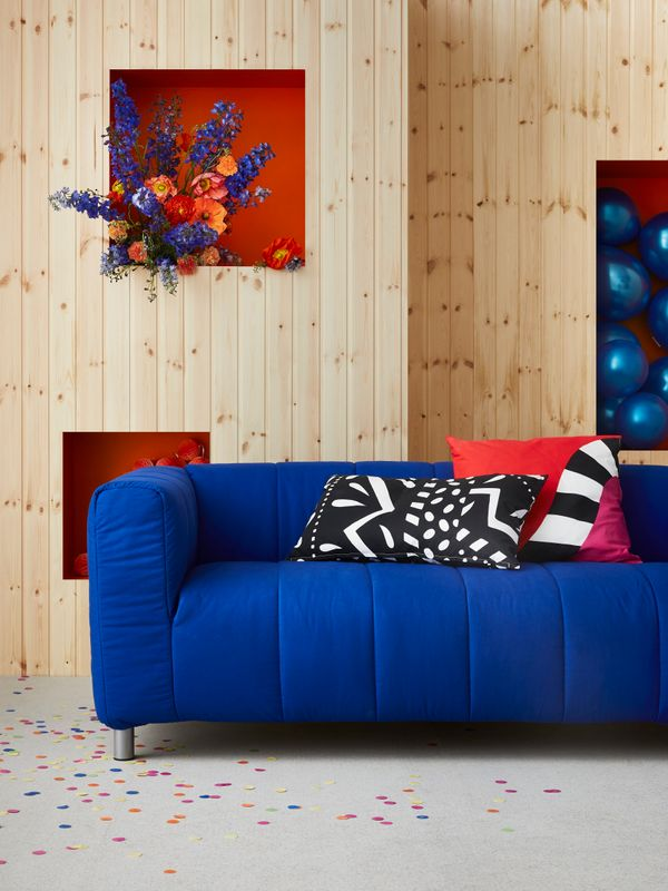 KLIPPAN cover for loveseat, $79.<br>MOSAIKBLAD cushion covers, $6.99