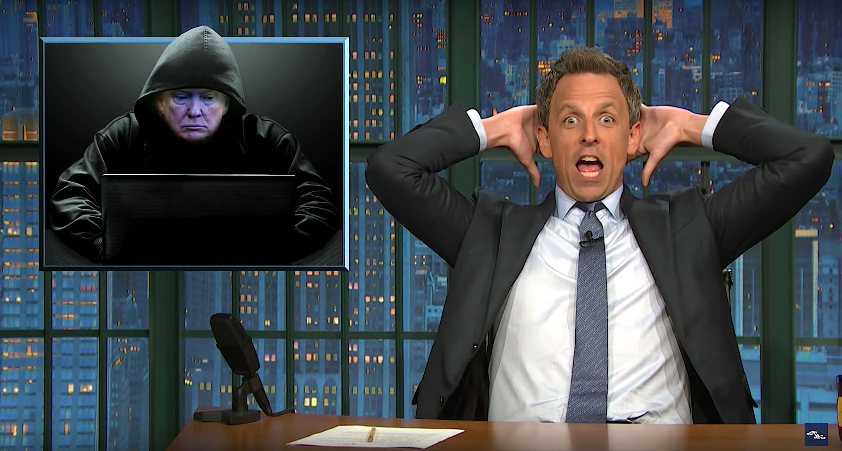 Seth Meyers of Late Night imagines President Donald Trump as a hacker