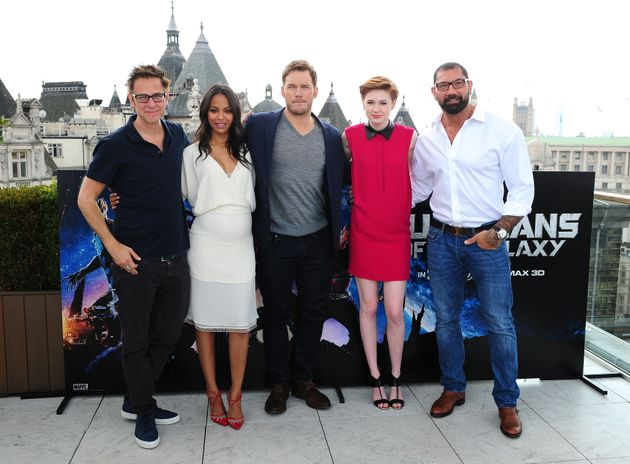 James Gunn, Zoe Saldana, Chris Pratt, Karen Gillan and David