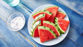 watermelon slices with sprinkled salt