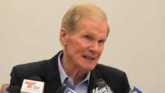 On April 17, 2017, Sen. Bill Nelson (D-Fla.) speaks at a news conference in Coral Gables, Fla. After this year's devastating hurricane season, Florida lawmakers want to use the Republican tax bill to boost the amount of money the islands receive from rum exports.(Carl Juste/Miami Herald/TNS via Getty Images)