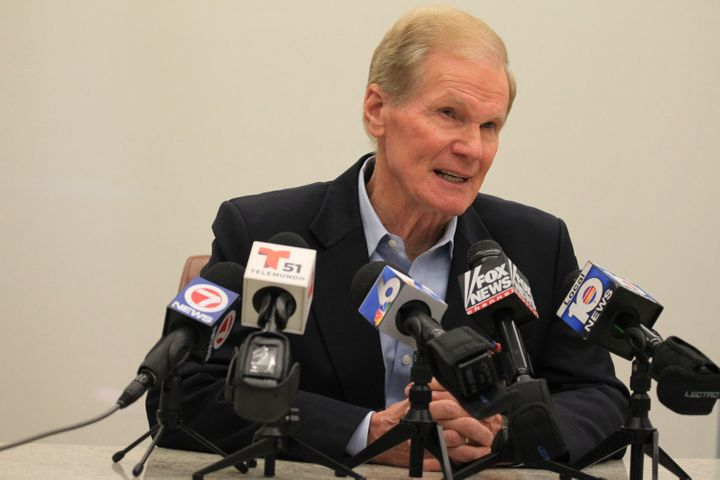 Florida's Sen. Bill Nelson (D) on April 17. He is in a tight re-election contest with Rick Scott (R), the state's
