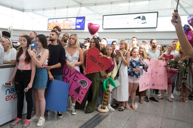 Many had waited hours to see a glimpse of the 'Love Island'