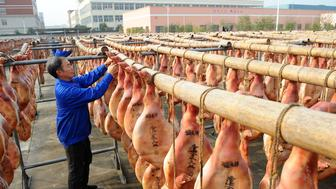 JINHUA, Dec. 4, 2017 -- Staff workers dry hams in Huayuan Village of Dongyang City, east China's Zhejiang Province, Dec. 4, 2017. Local food enterprises dried hams in the sun through traditional methods. Jinhua City, dubbed the hometown of Chinese ham, has a ham history of more than 2,000 years. (Xinhua/Bao Kangxuan via Getty Images)