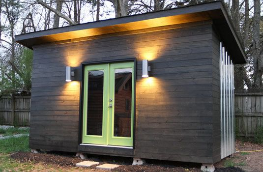 This shed-style addition can serve as an office or craft room.