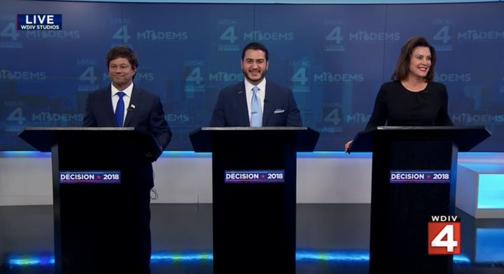From left to right: Shri Thanedar, Abdul El-Sayed and Gretchen Whitmer participate in a live television debate on July 19, 20