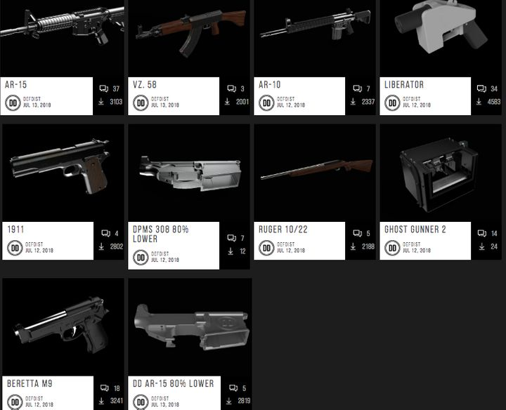 A screenshot of the Defense Distributed website offering downloadable blueprints for 3D-printed guns.