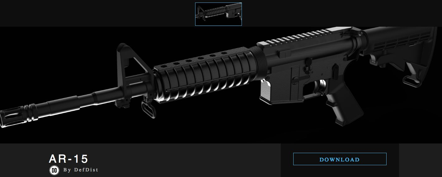 A screenshot of the Defense Distributed page offering downloadable blueprints for an AR-15.