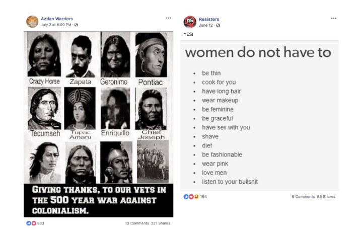 "A sample of the posts from ""Aztlan Warriors"" and ""Resisters,"" two pages Facebook identified as inauthentic."