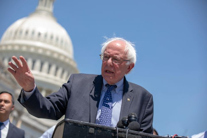 Sen. Bernie Sanders (I-Vt.) speaks during a news conference at the U.S. Capitol on July 10.Sanders plans to hold two ra