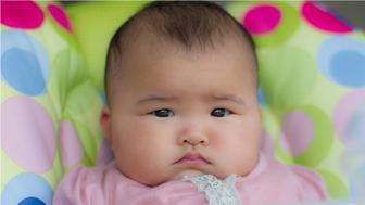 Portrait of sad baby girl.