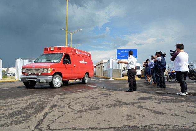 An ambulance is seen at the airport of Durango, in northern Mexico, after a plane carrying 97 passengers...