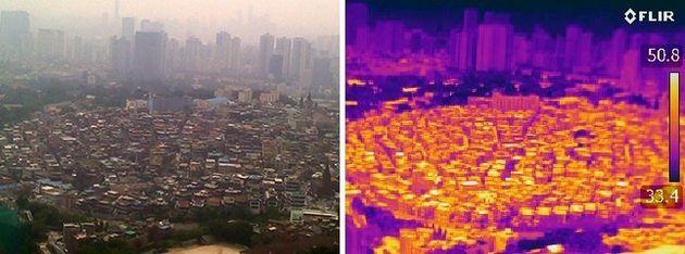 오후 2시께 서울 중구 해방촌 건물들이 햇빛에 달궈져 50.8도까지