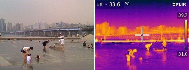 시민들이 서울 여의도 한강공원 물빛광장분수대에서 더위를 식히고 있다. 물놀이한 아이와 물에 들어가지 않은 어른의 체온이