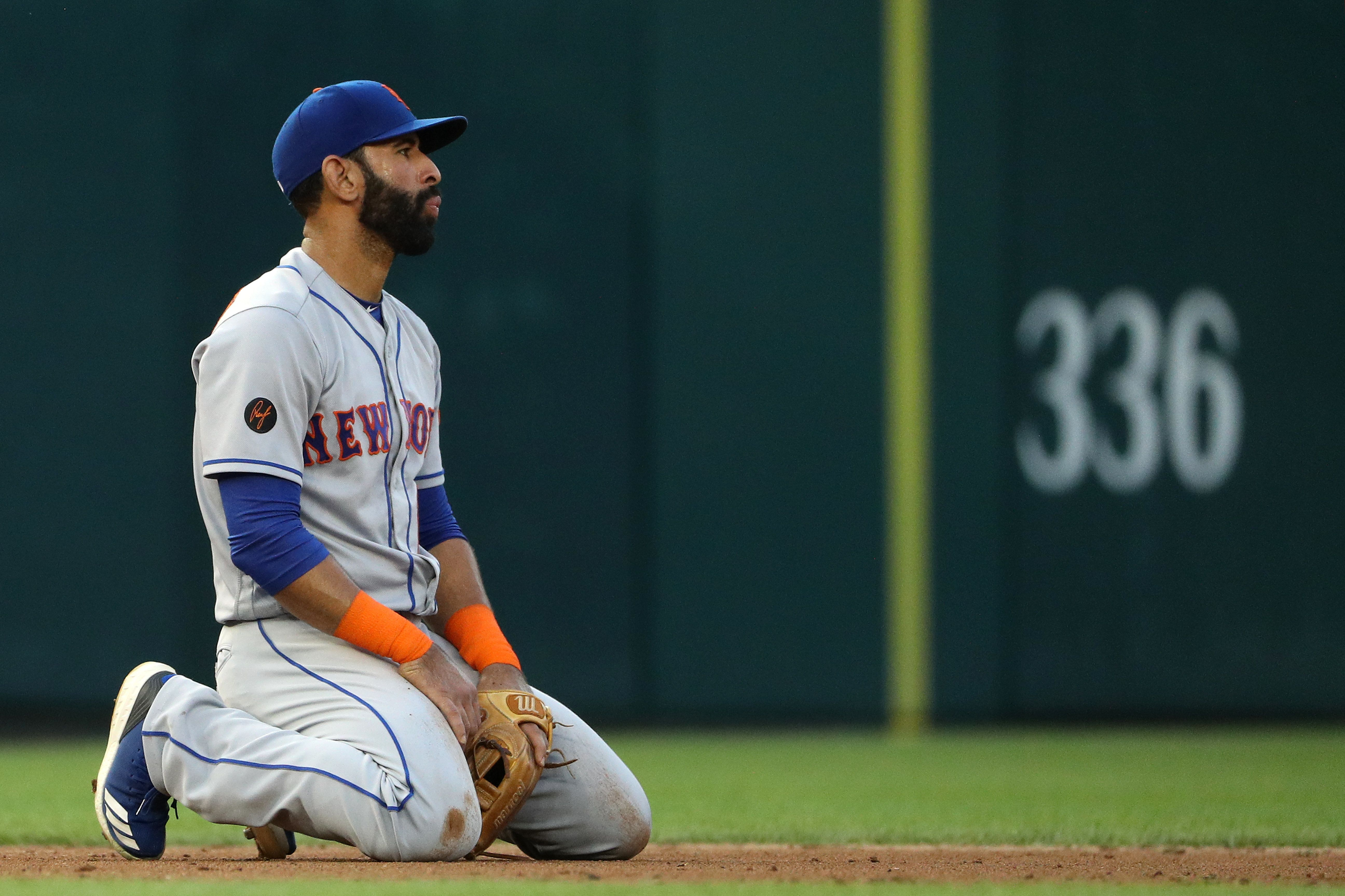WASHINGTON, DC - JULY 31: Jose Bautista #11 of the New York Mets reacts against the Washington Nationals during the second inning at Nationals Park on July 31, 2018 in Washington, DC. (Photo by Patrick Smith/Getty Images)