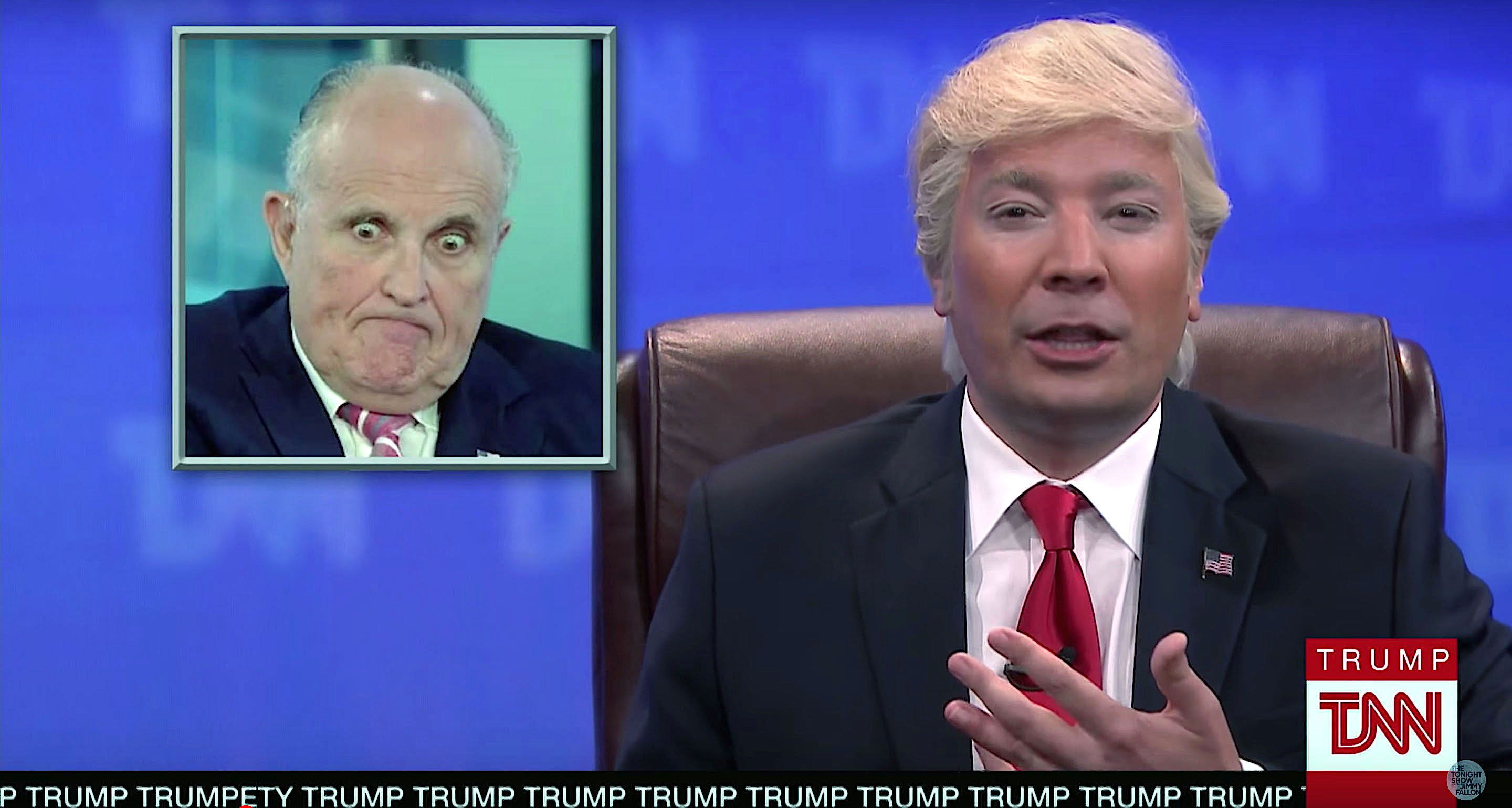 Jimmy Fallon as President Donald Trump anchors the Trump News Network