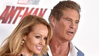 HOLLYWOOD, CA - JUNE 25:  Actor David Hasselhoff and Hayley Roberts attend the premiere of Disney and Marvel's 'Ant-Man and the Wasp' at El Capitan Theatre on June 25, 2018 in Hollywood, California.  (Photo by Axelle/Bauer-Griffin/FilmMagic)