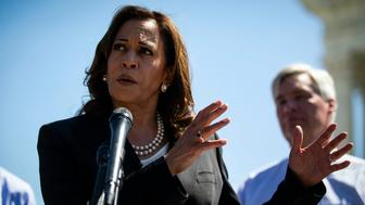WASHINGTON, DC - JULY 10:  Sen. Kamala Harris (D-CA) speaks with Senate Democrats, during a news conference to 'save women's reproductive rights and health care protections,' in front of the Supreme Court, on July 10, 2018 in Washington, DC. (Photo by Al Drago/Getty Images)