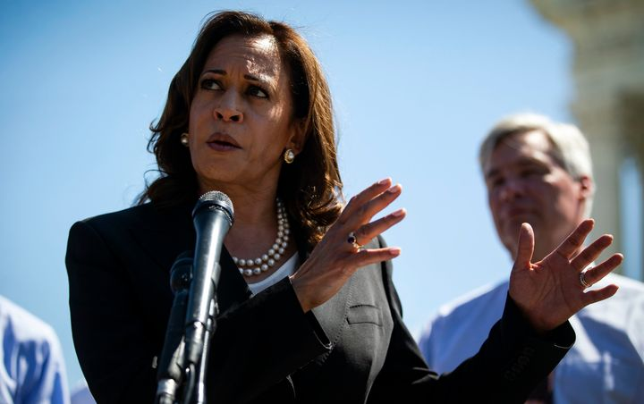 Sen. Kamala Harris (D-Calif.) speaks with Senate Democrats during a news conference on July 10, 2018, in Washington, DC.&nbsp