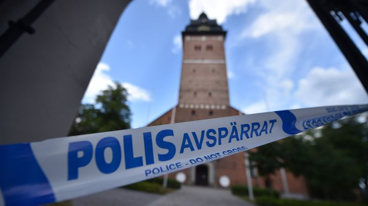 Swedish policecordoned offthe Strängnäs cathedral, west of Stockholm, after thieves stole crown jewels
