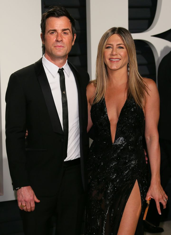 Jennifer Aniston and Justin Theroux attend the 2017 Vanity Fair Oscar party.