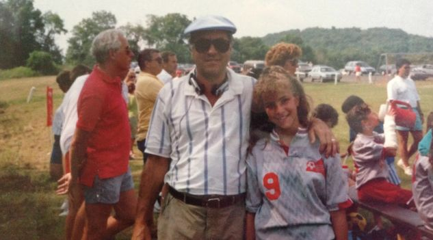 The author with her father in the 1990s.