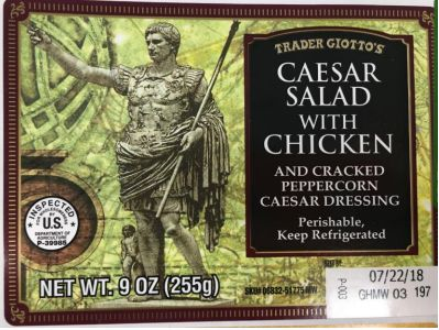 Health officials are advising the public to throw away dozens of salad and sandwich products like this one sold by Trader Joe
