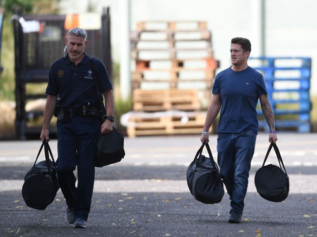 Robinson seen leaving Onley prison on Wednesday