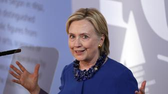Hillary Clinton delivers the Romanes Lecture at the Sheldonian Theatre, Oxford. (Photo by Steve Parsons/PA Images via Getty Images)