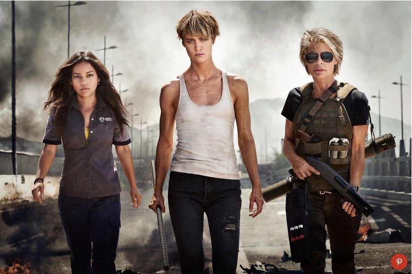 "(From left)Natalia Reyes,Mackenzie Davis andLinda Hamilton in an image from the upcoming ""Terminator&"