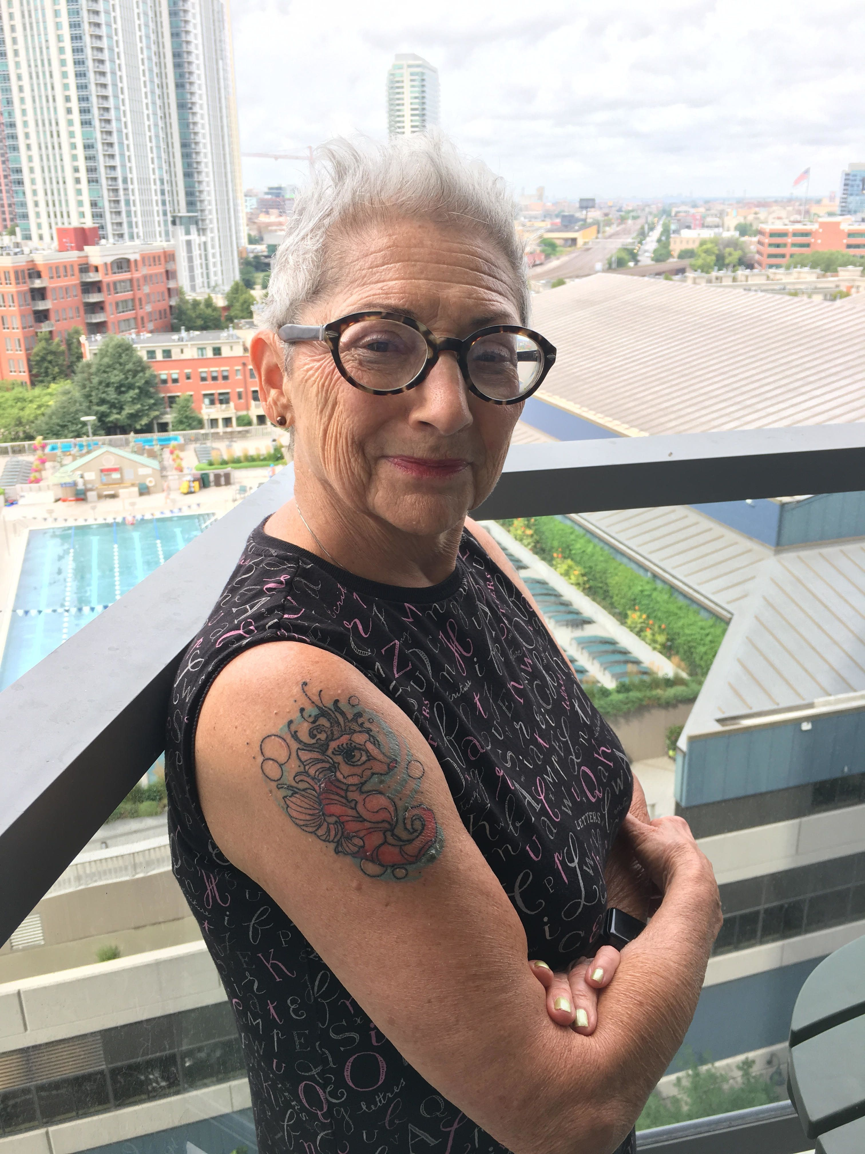 Elaine Soloway got her second tattoo, a seahorse she calls Graciela, just before turning 80.
