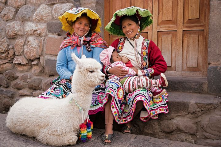 Tina Boyadjieva photographed a woman named Maryluz, her aunt, baby and their llama in Peru.