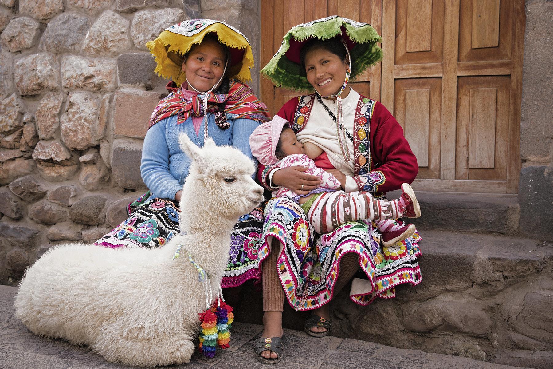 Tina Boyadjieva photographed a woman named Maryluz, her aunt, baby and their llama in Peru.