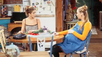 FRIENDS -- 'The One with Ross's Wedding: Part 1' Episode 23 -- Pictured: (l-r) Jennifer Aniston as Rachel Green, Lisa Kudrow as Phoebe Buffay  (Photo by Gary Null/NBC/NBCU Photo Bank via Getty Images)