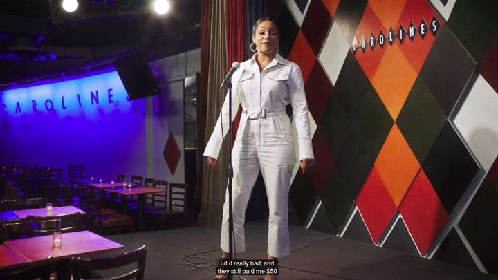 Haddish on stage at Carolines on Broadway.