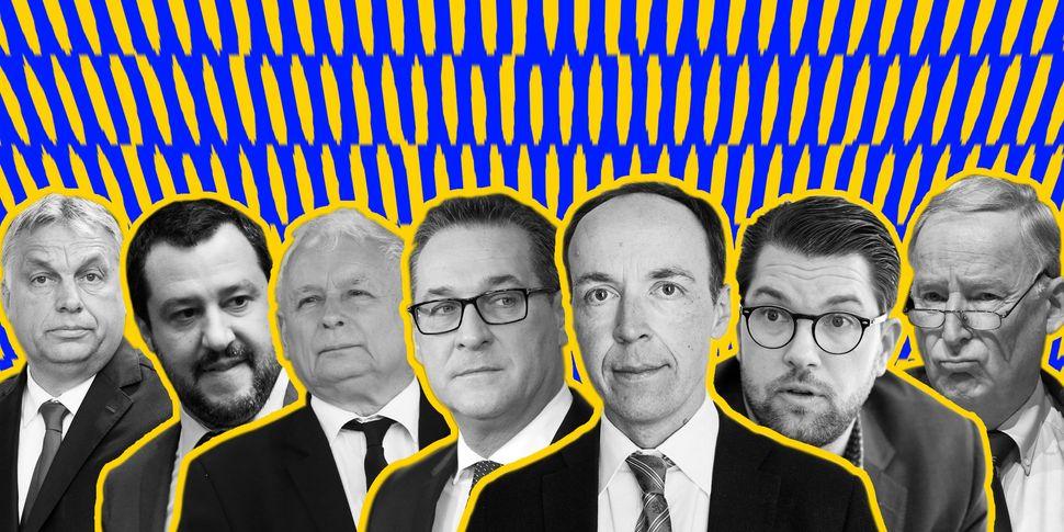 Hungary's Victor Orban, Italy's Matteo Salvini, Poland'sJaroslaw Kaczynski,Austria's Heinz-Christian Strache,&nbs