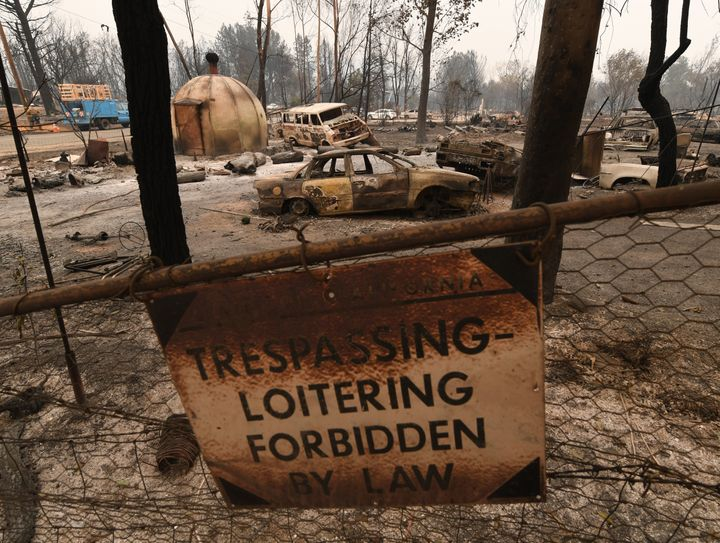 Property scorched by the Carr Fire, the largest of 17 active fires in California and the seventh biggest in the state's