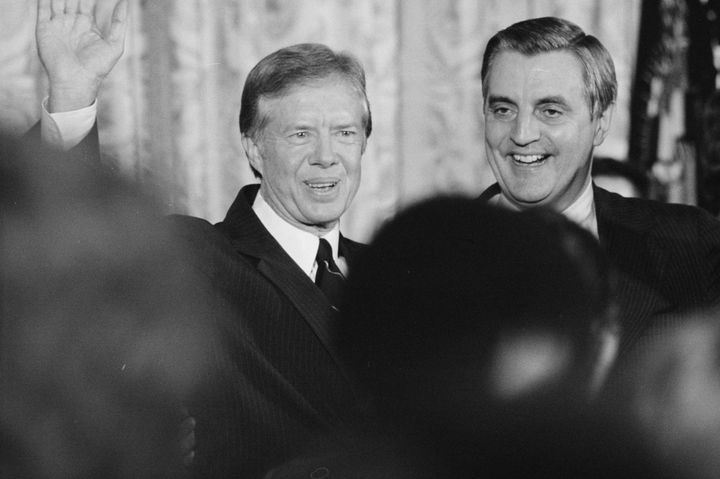 President Jimmy Carter and Vice President Walter Mondale at the White House in December 1979.Carter first embraced neol