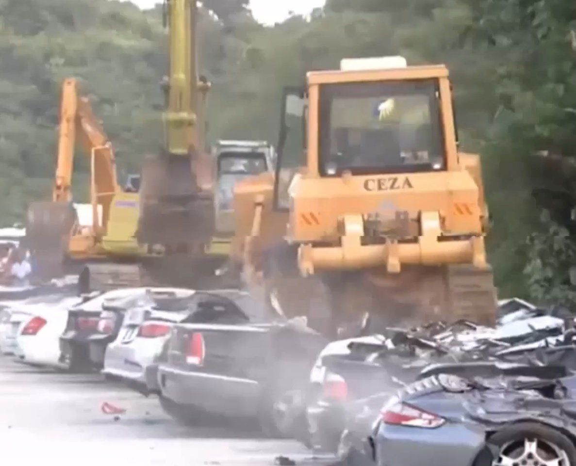 Sixty-eight luxury vehicles were crushed