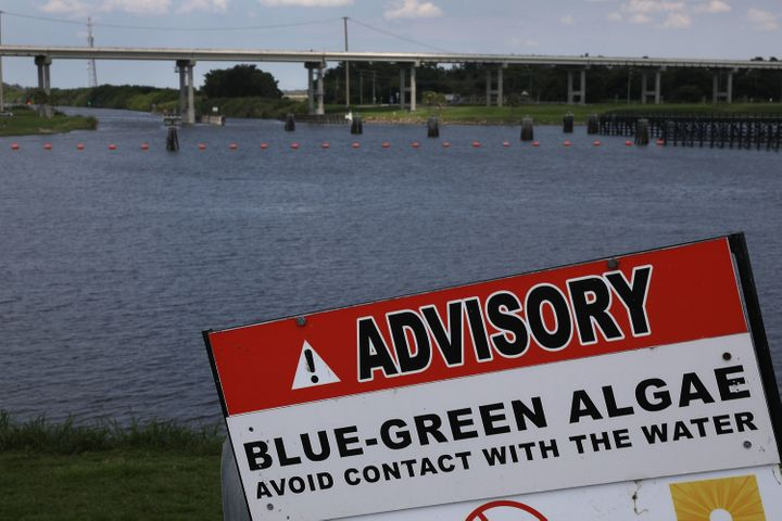 A sign warns of Blue-Green algae in the water near the Port Mayaca Lock and Dam on Lake Okeechobee on July 13.
