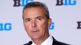 CHICAGO, IL - JULY 24: Ohio State Football head coach Urban Meyer speaks to the media during the Big Ten Football Media Days event on July 24, 2018 at the Chicago Marriott Downtown Magnificent Mile in Chicago, Illinois. (Photo by Robin Alam/Icon Sportswire via Getty Images)